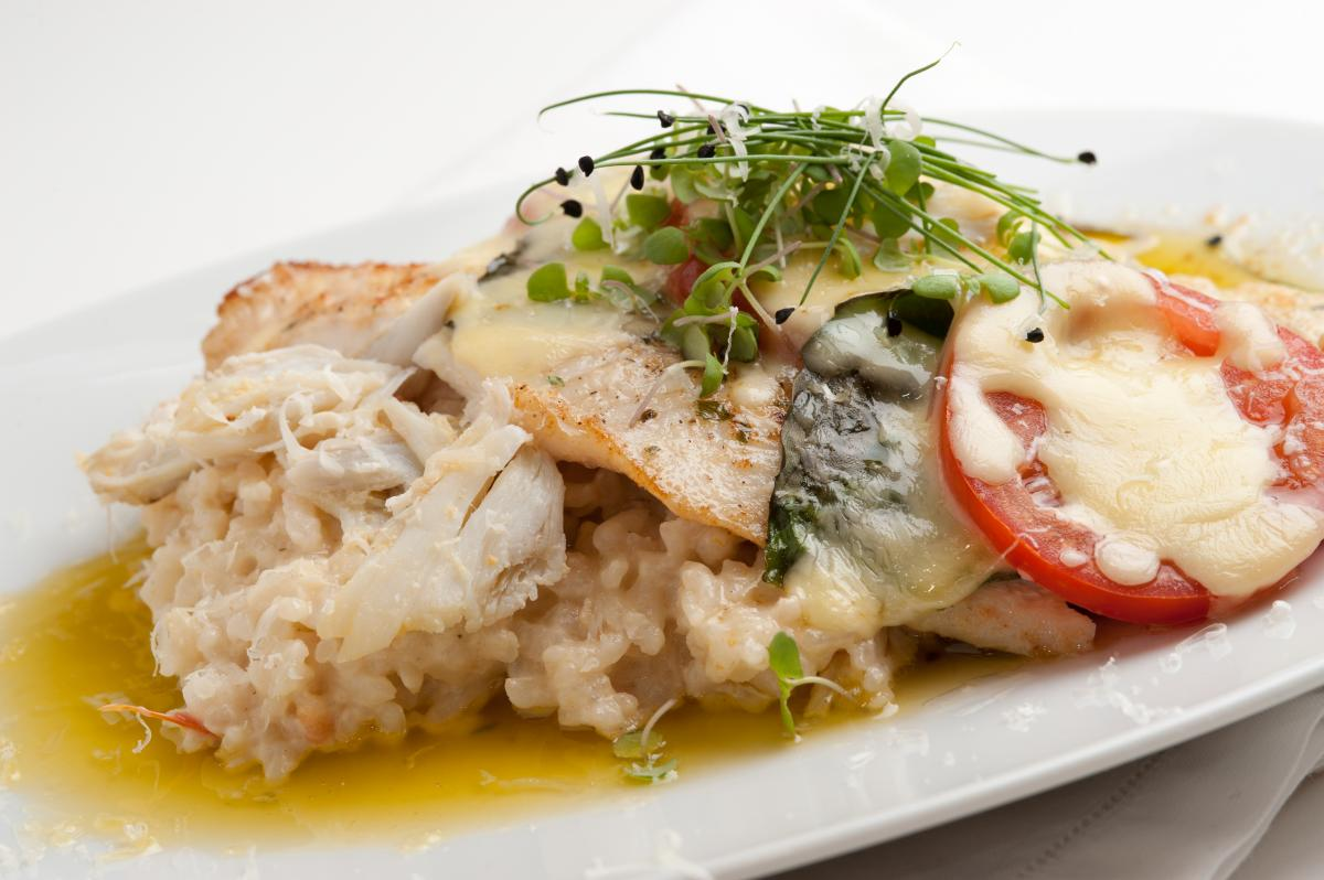 Flounder Caprese with Crab Risotto