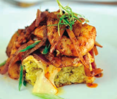 Cornbread spiced sauteed shrimp