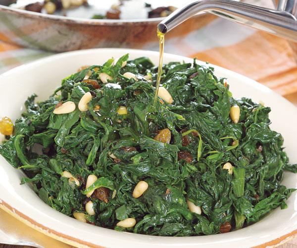 ... Anchovy And Raisins Side Dish spinach, pancetta, anchovy, raisens