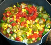 Stewed Corn and Tomatoes with Okra