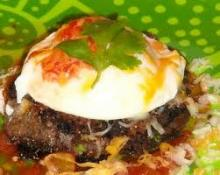 Poached Egg and Red Bean Cakes