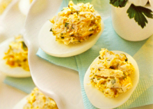Lemon-Dill Chicken Salad Stuffed Deviled Eggs