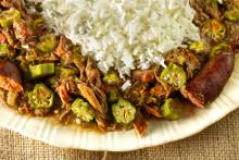 Okra and Tomatoes with Stewed Chicken and Sausage