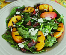 Summer Salad with Warm Peach and Bacon Vinaigrette