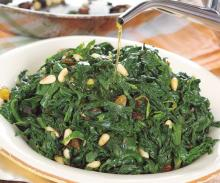 Sicilian Style Sauteed Spinach With Bacon Anchovy And Raisens