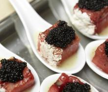 Grilled Watermelon with Champagne Vinaigrette, Caviar and Feta