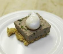 Hog's Head Cheese with Roasted Corn Grits and Poached Egg