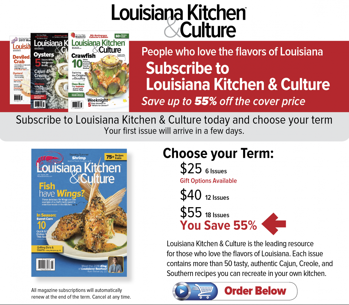 Subscribe Louisiana Kitchen & Culture Magazine | Louisiana