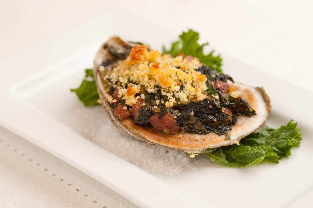 Baked Gulf Oysters with Country Ham