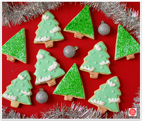 christmas cookies with colored icing