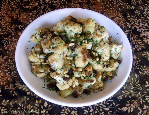 Roasted Cauliflower With Pine Nuts and Raisins | Louisiana Kitchen ...