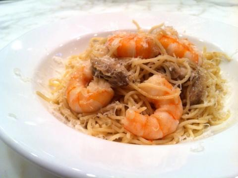 Oyster and shrimp over pasta