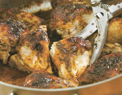 Roasted Split Chicken with Mustard Crust