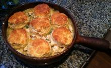 Biscuit Topped Seafood Gumbo Pie