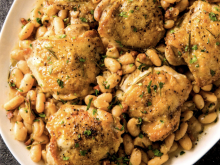 Braised Chicken Thighs With White Beans, Pancetta, and Rosemary