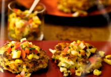 Crab Cakes with Corn and Pineapple Chutney