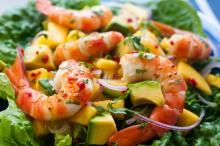 Mango or Peach Salad with Shrimp