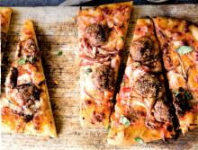 Mini Meatball and Red Onion Pizza