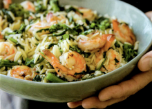Orzo with Shrimp and Broccolini