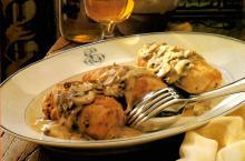 Stuffed Chicken breasts with Mushroom-Wine Sauce