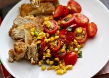 Chicken over Grilled Corn Salad