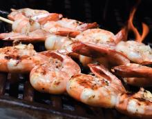 Grilled Shrimp over Corn Macque Choux