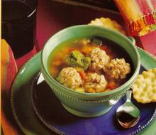 Meatball Soup with Cilantro Pesto