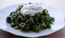 Middle Eastern Spinach With Yogurt And Walnuts