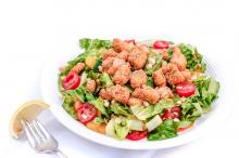 Chopped Salad with Fried Fish Croutons