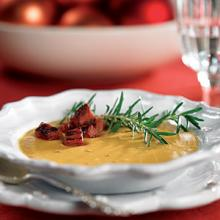Sweet Potato And Peanut Soup With Ham Croutons